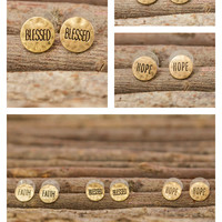Be Positive Word Stamped Earrings