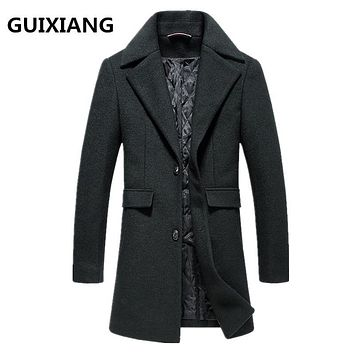 2017 winter Men's High quality casual thicken woolen trench coat Men business coats Men's Wool overcoat men jackets FY017