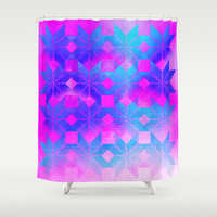 Freya Goddess of Love Shower Curtain by Gréta Thórsdóttir  #floral #love #ikat #pattern #ethnic #zigzag #cobalt #pink