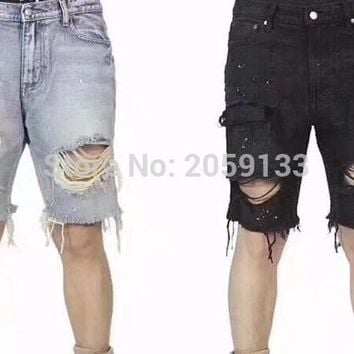 2018 NEW Justin Bieber Big Ripped Destroyed Distressed men Denim Shorts HipHop kanye west Casual hole Jeans Shorts S-XXL