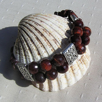 "Red Tigers Eye Crystal Gemstone Bracelet - ""Tiger Tiger"""