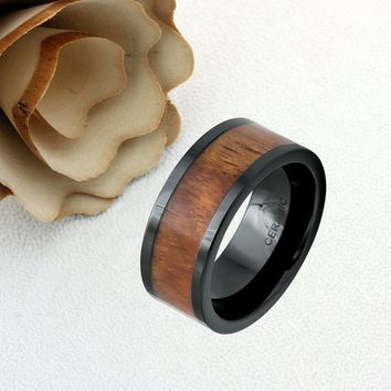 Ceramic Promise Ring Wedding Band Ring Men Women Unisex Personalized Custom Engraving 9mm Hawaiian Koa Black Ring - ZDPCR486-9MM