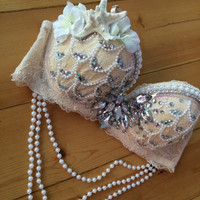 Pale Blush Mermaid Rave Bra // Rave Outfit • Made to Order in Any Size