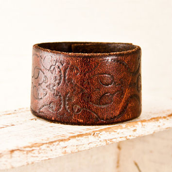 Holiday Sale Wristband Cuff Bracelet Tooled Leather Western, Southwestern, Jewelry, Rainwheel Hanukah Gift Christmas Sale
