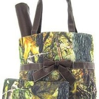Camo Camouflage Tote Purse Diaper Bag You Choose Color! Pink Orange Brown or Black (Brown)