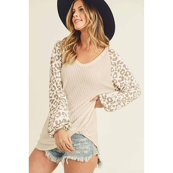 Taupe Ribbed Top with Leopard Balloon Sleeves
