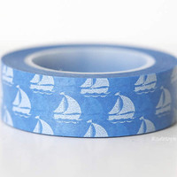 Blue SailBoat Washi Tape Chugoku Nautical Destination Wedding Decor