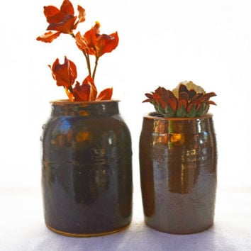 Antique Canning Jars, 2 Wax Lid Canning Crocks, Antique Pottery, Stoneware Collectible, Primitive Canning
