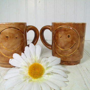 Vintage Ceramic Coffee Mugs Set of 2 - Retro HandMade Smiley Face Pottery Pair - Funky Brown Glaze Matching Cups with Handles