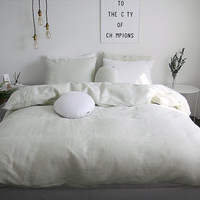 Washed Pale Greenish / Light Creamy Green Colored Linen Soft Twin / Queen Size Bedding Set