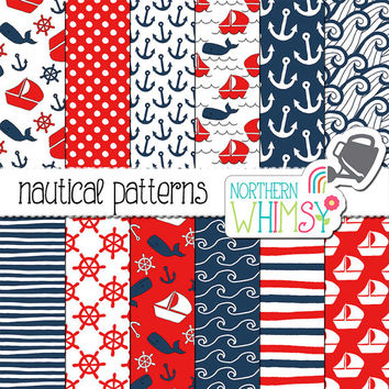Nautical Digital Paper - red and navy blue - hand drawn boat / ship, whale & anchor seamless patterns - scrapbook paper - commercial use OK