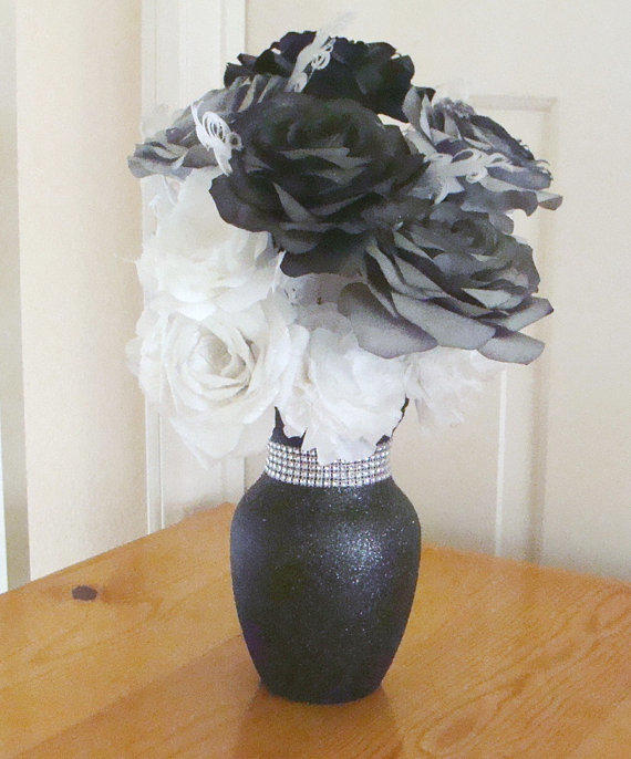 Black Amp White Glitter Vase Wedding From Centertwine