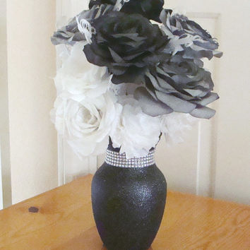 Black & White Glitter Vase, Wedding Centerpiece, Free shipping, Rhinestones, Coffee Filter Flowers, Roses, Carnations, Home Decor, Feathers