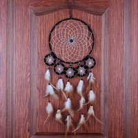 Indian Tribal Six Circles Dream Catcher with Feathers & Bead Wall Hanging Decor Large Dreamcather Home Decoration Ornament Handicraft (Color: Black)