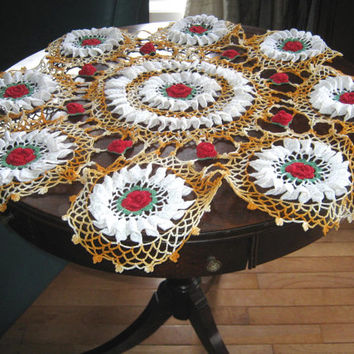 "Vintage Crocheted Doily, 30"" Round Small Tablecloth Centerpiece, Table Topper,Red and White Flower Doily, Unusual Doily, Vintage Linens"