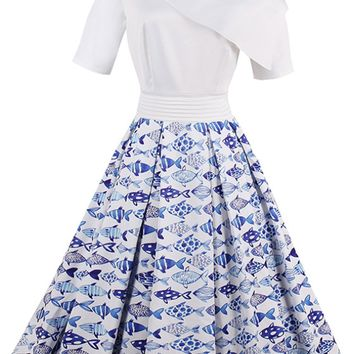 Atomic Blue and White School of Fish Pin Up Dress