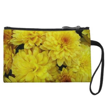 Yellow Mums Floral Wristlet Wallet