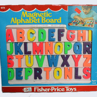 Fisher Price Magnetic Alphabet Board, Magnetic Alphabet Letters, Original Packaging, 1970s Kids Toy, 1977 Fisher Price 673, Desk Tray, ABC