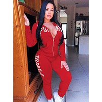 Victoria's Secret Popular Women Casual Print Zipper Top Pants Trousers Set Two-Piece Sportswear Red