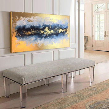Optimistic Abstract Gold Acrylic Painting on Canvas | Modern Art by Ron Deri