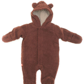 Fleece Brown Bear Footed Romper
