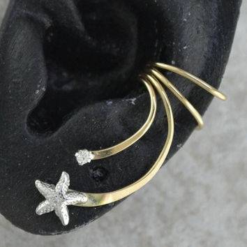 Ear Cuff  Starfish and CZ   Sterling Silver and by ChapmanJewelry