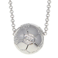 Dear Deer White Gold Plated Soccer Pendant Necklace