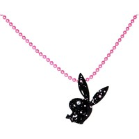 Playboy Bunny Paint Splatter Pink Charm Necklace