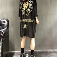 """Chrome Hearts"" Women Personalit Pattern Print Middle Sleeve Loose Medium Long Section T-shirt Velvet Dress"
