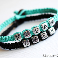 Freak and Geek Bracelets, Set of Two, Quirky Best Friend Gift, Friendship Anniversary, Couples Jewelry, Hand Knotted Hemp Accessory