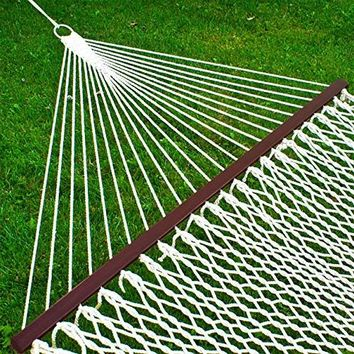 """Best Choice Products Hammock 59"""" Cotton Double Wide Solid Wood Spreader Outdoor Patio Yard Hammock"""