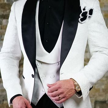 Men's 3PC White Pattern Wedding Suit Up To Size 6XL(Jacket, Pants, Vest)