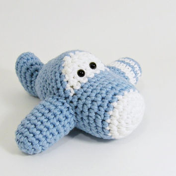 Amigurumi Airplane Soft Baby Rattle - organic cotton - light blue and white