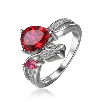 Silver Flower Rose 2.6ct Lab Created Red Ruby Love Promise Ring