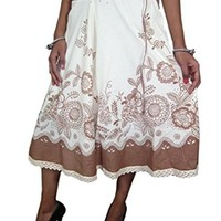 Womans Boho Peasant Skirt Cotton White Brown Floral Print Holiday Skirts