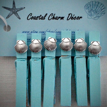 Silver Seashell Decorative Clothespins, Coastal Clothespins, Seashell Clothespins, Office Organizers, Pretty Clothespins, Seashell Wedding