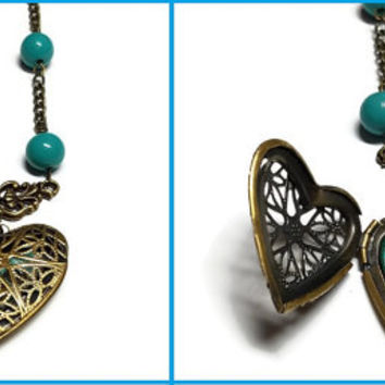 Blue and Bronze Steampunk Locket, Heart Shaped Steampunk Locket, Blue Steam Punk Locket