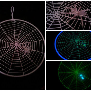 Glow in the Dark Spiderweb Dream Catcher with Glow in the Dark Beaded Spider - 7 Inches in Diameter