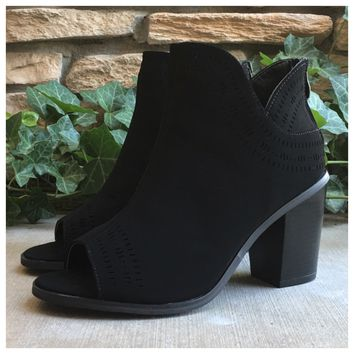 25% off Sale! Sassy Me, Peep Toe Black Ankle Heel Booties