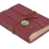 Burgundy Leather Journal with Tea Stained Paper and Dragonfly Cameo Bookmark  - Ready To Ship