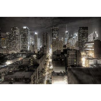 NEW YORK CITY CROSS SECTION poster B/W PHOTO lights TALL buildings 24x36