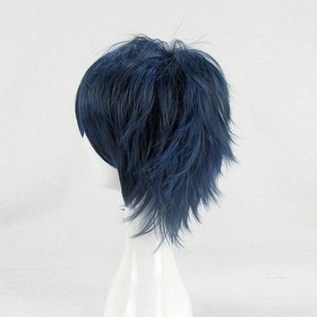HAIRJOY Blue Black Short Cosplay Costume Wig High Temprature Synthetic Fiber Hair 6 Colors
