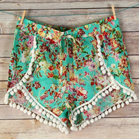 Mint Printed Pom Pom Shorts- SIZE LARGE ONLY