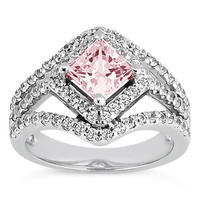 White gold 14K 3.51 carats pink halo princess diamond wedding ring