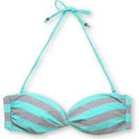 Empyre Girls Swivel Turquoise Striped Bandeau Bikini Top
