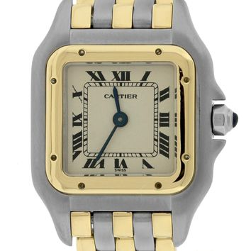 Ladies Cartier Panthere 18K Two Tone Gold Steel Ivory 22mm Quartz Watch 166921
