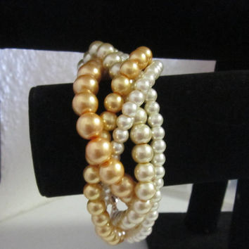 Ivory and Gold Wedding Bracelet, Multi Strand Pearl Bracelet, Multi Strand Bracelet, Bridesmaid Bracelet - Wedding Jewelry