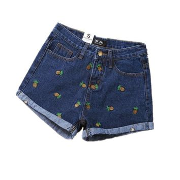 women denim shorts summer banana Strawberry carrot pineapple embroidery cotton curling casual female waist denim shorts CD167
