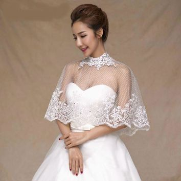 High Neck Bridal Shawl Lace Thin Transparent Cape Summer Wedding Accessories Crystal Top Coat
