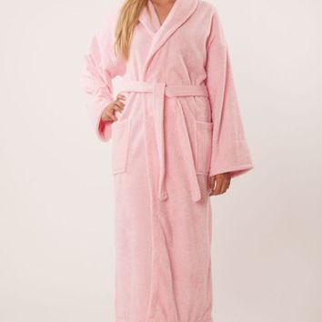 100% Turkish Cotton Adult Terry Shawl Robe - Pink - Adult - One Size